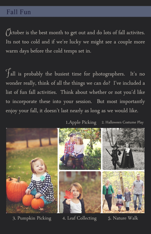 October Fall Session Ideas